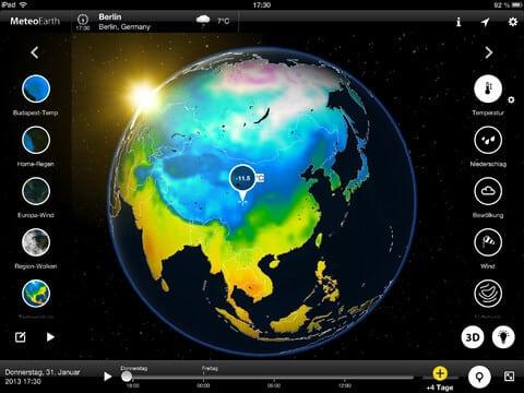 Meteoearth - aktuelle Wetter mit 3D-Ansicht