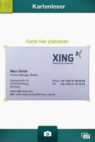 Visitenkarten abscannen und Kontakt auf XING hinzufügen