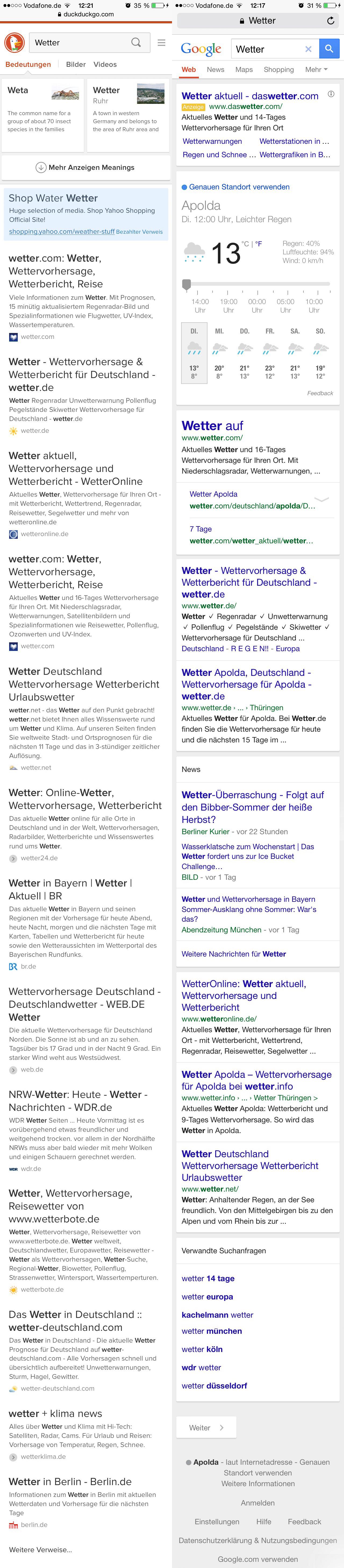 suchmaschinenvergleich 08 Google und DuckDuckGo: Die Suchergebnis Seiten im Vergleich