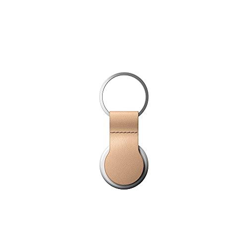 NOMAD Leather Loop Natural | schwarzer Schlüsselring mit Schlaufe aus Leder für Apple AirTags in beige | Echtleder