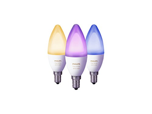 Philips Hue White and Color Ambiance E14 LED Kerze Dreierpack, dimmbar, bis zu 16 Millionen Farben, steuerbar Via App, Kompatibel mit Amazon Alexa (Echo, Echo Dot)