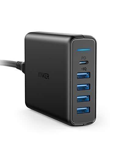 Anker PowerPort 5-Port USB C Ladegerät 60W Wandladegerät, 1-Port mit Power Delivery für Apple MacBook, Nexus 5X / 6P und 4 PowerIQ Ports für iPhone, iPad, Samsung und weitere Geräte