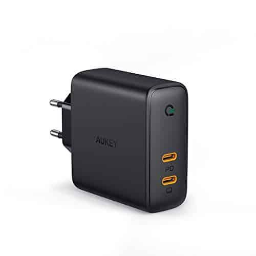 "AUKEY USB C Ladegerät 60W Wandladegerät, Power Delivery Ladegerät mit Dynamic Detect & GaN Tech, USB-C Netzteil für 13""MacBook Pro, iPhone 11 Pro /11, Pixel 3 / 3XL, iPad, Nintendo Switch usw."