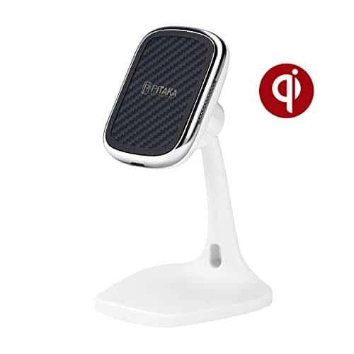 pitaka Magnetischer Handy Ständer Tisch-Handy-Halterung Kabelloses Aufladen [MagEZ Mount Qi Desktop] für Qi Smartphones kompatibel mit MagEZ Case und MagEZ Case Pro Qi-Handyhalter für Büro-Weiß