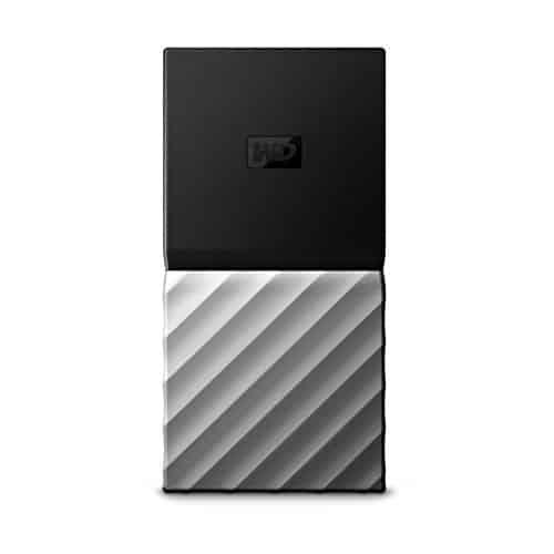 WD My Passport SSD, Mobile 256 GB-Festplatte, USB Type-C und USB 3.1 Gen 2-Ready, WDBK3E2560PSL-WESN Schwarz von Western Digital, mit Kennwortschutz und Software für automatische Datensicherung