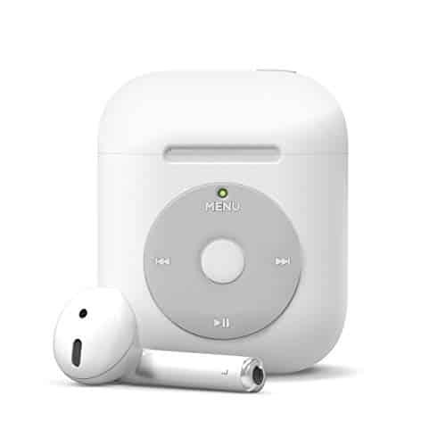 elago AW6 AirPods Hülle Kompatibel mit Apple AirPods 2 & 1 – Klassischer Music-Player Design, Extra Schutz, Unterstützt Kabelloses Laden [US Patent Gemeldet] (Ohne Karabiner, Weiß)