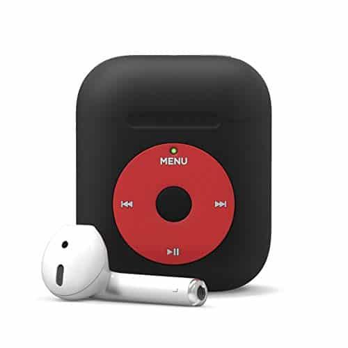 elago AW6 AirPods Hülle Kompatibel mit Apple AirPods 2 & 1 – Klassischer Music-Player Design, Extra Schutz, Unterstützt Kabelloses Laden [US Patent Gemeldet] (Ohne Karabiner, Schwarz)