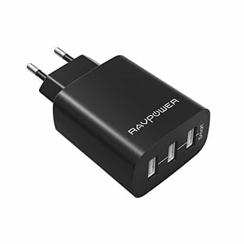 RAVPower RP-UC12 USB Ladegerät 3-Port 30W 6A (insgesamt) für iPhone 8/8 Plus iPhone X iPad Galaxy S8, S8 Plus , Note, Nexus, HTC, Motorola, LG, Xiaomi Smartphone Tablets schwarz