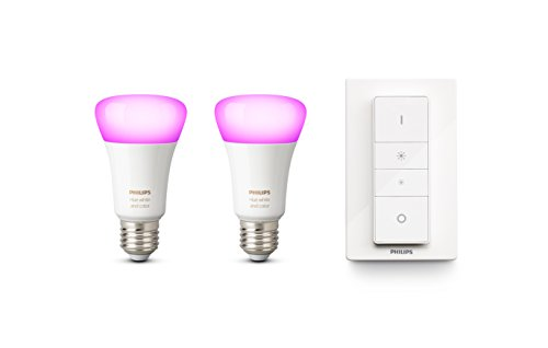 Philips Hue White & Color Ambiance E27 LED Lampe Doppelpack inkl. Hue Dimmschalter, 4. Generation, dimmbar, bis zu 16 Millionen Farben, steuerbar via App, kompatibel mit Amazon Alexa (Echo, Echo Dot)