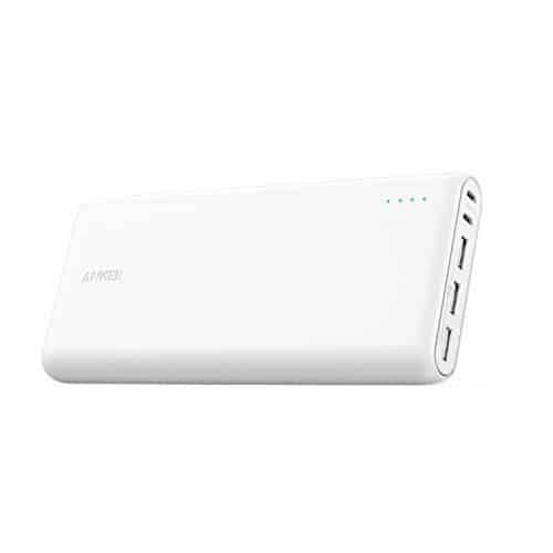 Anker PowerCore 26800mAh Power Bank Externer Akku mit Dual Input Ladeport, Doppelt so Schnell Wiederaufladbar, 3 USB Ports für iPhone X 8 8Plus 7 6s 6Plus, iPad, Samsung Galaxy, Android und weitere Smartphones (Weiß)