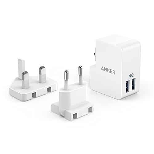 Anker PowerPort 2 Lite (17W) 2 Port USB Reise Ladegerät mit Austauschbarem UK und EU Reiseadapter und Power IQ für iPhone 7, 7 puls, 6s, 6, 5, 5s, iPad Air 2 / mini 3, Galaxy und Weitere (Weiß)