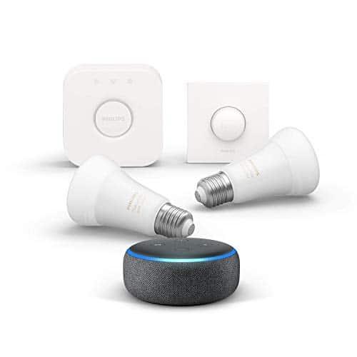 Echo Dot (3. Gen.), Anthrazit Stoff + Philips Hue White & Color Ambience LED 2-er Starter Set, Funktionert mit Alexa