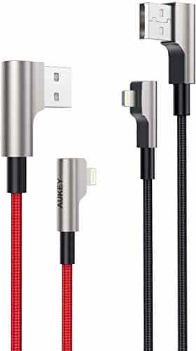 AUKEY Lightning Kabel 90 Grad Winkel Stecker (2m - 2 Stücke) Nylon [Apple MFi Zertifiziert] Ideal zum Spielen Metallgehäuse iPhone Kabel für iPhone XS/Xr/X / 8/6, iPad und Andere Apple Geräte