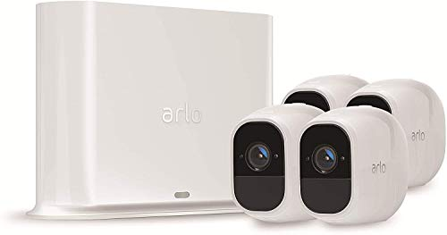 Arlo Pro2 Überwachungskamera & Alarmanlage, 1080p HD, 4er Set, Smart Home, kabellos, Innen/Außen, Nachtsicht, 130 Grad Blickwinkel, WLAN, 2-Wege Audio, wetterfest, Bewegungsmelder, (VMS4430P) - Weiß