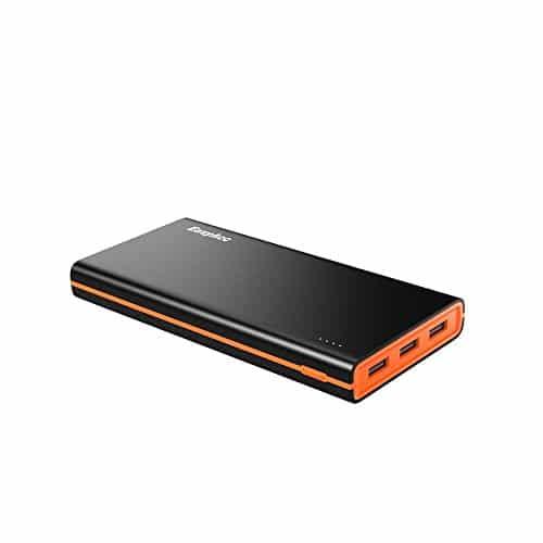 EasyAcc 2. Gen 15000mAh Power Bank (4.8A Smart Output) Externe Akku mit 3-Ports Reiseadapter für iPhone Samsung HTC Tablets -Schwarz und Orange