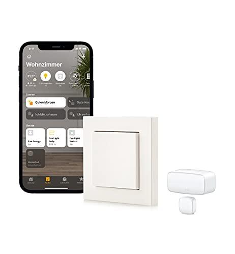 Eve Thread Starter Kit Lichtsteuerung - Smarter Lichtschalter Eve Light Switch und Kontaktsensor Eve Door & Window, keine Bridge nötig (Apple HomeKit, Bluetooth/Thread)