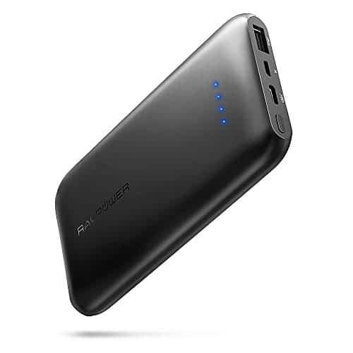 RAVPower 10000mAh Powerbank USB C Ultradünne Externe Akku für iPhone XS Max, XR, iPhone X / 8 / 7 / 6S / 6, Huawei Handy, S8, S9 und iPad Air usw. (Schwarz)