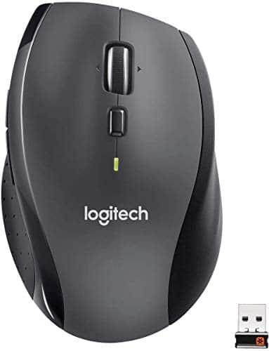Logitech M705 Marathon Kabellose Maus, 2.4 GHz Verbindung via Unifying USB-Empfänger, 1000 DPI Laser-Sensor, 3-Jahre Akkulaufzeit, 7 Tasten, PC/Mac - schwarz, Englische Verpackung