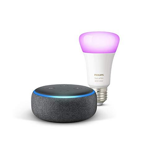 Echo Dot (3. Gen.), Anthrazit Stoff + Philips Hue White & Color Ambience LED-Lampe, kompatibel mit Bluetooth und Zigbee (kein Hub erforderlich), Funktionert mit Alexa