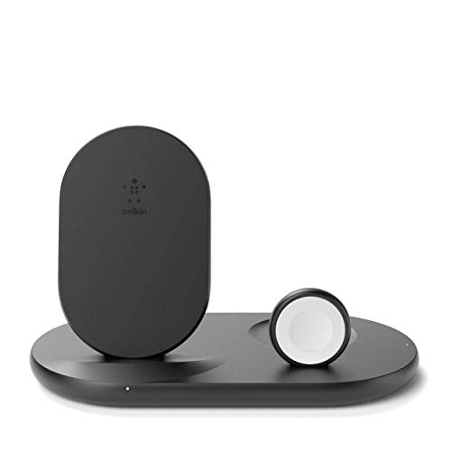 Belkin drahtloses 3-in-1-Ladegerät (drahtlose 7,5-W-Ladestation für iPhone13, 13 Pro, 13 Pro Max, 13 mini und ältere Modelle, Apple Watch SE, 6 und ältere Modelle, und AirPods)– Schwarz