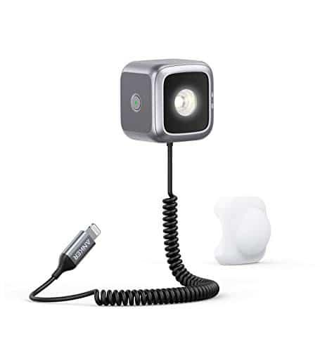 Anker iPhone LED-Leuchte,MFi zertifizierte LED-Taschenlampe mit integriertem Lightning-Kabel für iPhone SE 2020/11/11 Pro/11 Pro Max,Lichtwürfel mit Blitzmodus, ideal für Kreativität und Fotografie