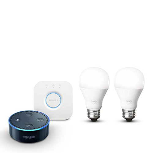 Amazon Echo Dot (2. Generation), schwarz inkl. Philips Hue White E27 Starter Set mit Bridge