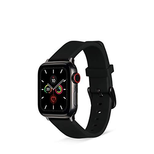 Artwizz WatchBand Silicone Armband kompatibel mit Apple Watch Series SE / 6/5 / 4 (44 mm), Apple Watch Series 3-1 (42 mm) - Silikon Ersatzarmband mit Adapter - Black