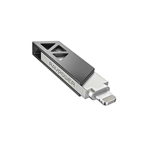 RAVPower iPhone Flash Drive 64GB mit Lightning Connector und USB 3.0, MFi Zertifiziert, iPhone & iPad Kompatibilität, Datensicherung, nicht mit iPhone 8 kompatibel
