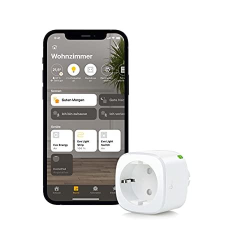 Eve Energy - Smarte Steckdose, misst Stromverbrauch, schaltet Geräte ein/aus, Siri-Sprachsteuerung, Zeitschaltuhr, Fernzugriff, keine Bridge nötig, TÜV-zertifiziert, Bluetooth/Thread, Apple HomeKit