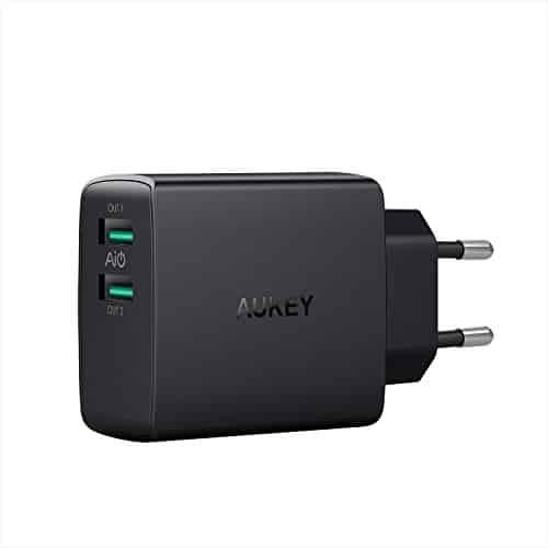 AUKEY USB Ladegerät 24W 2 Port Ladeadapter mit AiPower Technologie für iPhone XS/iPhone XS Max/iPhone XR, iPad Air/Pro, Samsung, Nexus, HTC, Motorola, LG und Weitere (Schwarz)