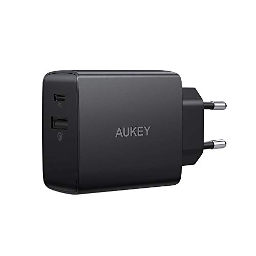 AUKEY USB Ladegerät, 18 W 2 Ports USB Ladeadapter mit Quick Charge 3.0, Power Delivery Ladegerät für iPhone XS/XS Max/XR, Google Pixel 2/2 XL, Samsung Galaxy S9+ / S8 / Note8 usw.
