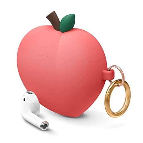 elago AirPods Pfirsich Hülle Peach Case mit Karabiner Kompatibel mit Apple AirPods 1 & 2 - Süßes 3D Design Cartoon Lustig Cute Funny, Hochwertiges Silikon, für Mädchen und Frauen (Rot)