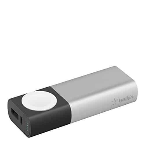 Belkin Valet Charger 6700mAh Power Pack (geeignet für die Apple Watch und das iPhone mit magnetischem Lademodul, Mfi zertifiziert) silber