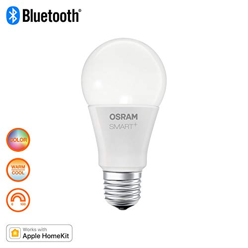 OSRAM SMART+ LED, Bluetooth Lampe mit E27 Sockel, RGB Farbwechsel, dimmbar, ersetzt 10W Glühbirne, warmweiß, Kompatibel mit Apple Homekit und LEDVANCE Smart+ App für Android