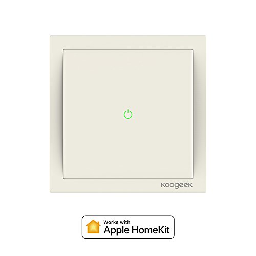 Koogeek Wifi Smart Light Schalter Switch 220 ~ 240V funktioniert mit Apple HomeKit ,Siri Fernbedienung One-Way-Single-Pole-Wandschalter auf 2,4 GHz Network Monitor Stromverbrauch Beige