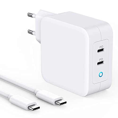 100W USB C Ladegerät-mit Power Delivery,PD 100W Ladegerät mit GaN Tech, 2 Port kompatible für MacBook Pro/Air,iPad Pro,iPhone 12/Mini/Pro Max,SE/11/11Pro Max/XS Max USB C ZU C 2M Kable