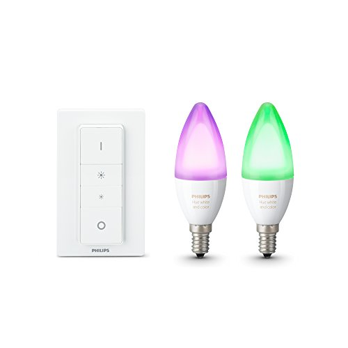 Philips Hue White and Color Ambiance E14 LED Kerze Doppelpack inkl. Hue Dimmschalter, dimmbar, bis zu 16 Millionen Farben, steuerbar via App, kompatibel mit Amazon Alexa (Echo, Echo Dot)
