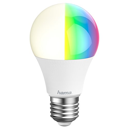 Hama E27 Wi-Fi LED-Lampe, 10W (ohne Hub, dimmbar, gesteuert via Alexa od. App, RGB Farbwechsel, 2700K, warmweiß) WLAN Lampe, kompatibel mit Alexa (Echo/Echo Dot/Echo Spot/Echo Plus/Echo Show)