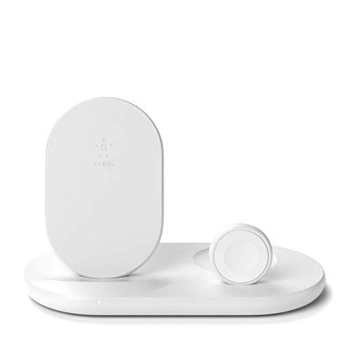 Belkin drahtloses 3-in-1-Ladegerät (drahtlose 7,5-W-Ladestation für iPhone13, 13 Pro, 13Pro Max, 13 mini und ältere Modelle, Apple Watch SE, 6 und ältere Modelle, und AirPods)– Weiß