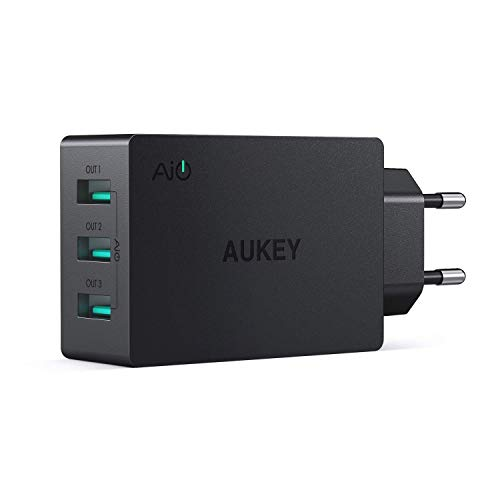 AUKEY USB Ladegerät 3 Ports 30W 6A mit AiPower Technologie Wandladegerät für iPhone XS / iPhone XS Max / iPhone XR, iPad Air/Pro, Samsung, LG, HTC, Nexus usw.