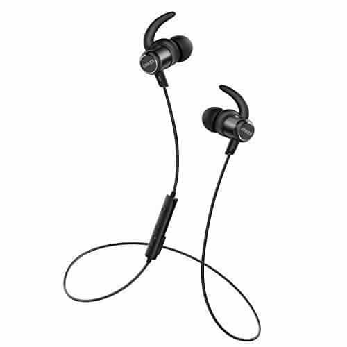 Anker SoundBuds Slim+ Bluetooth Kopfhörer Bluetooth 4.1 In Ear Kopfhörer Leichte Stereo Kopfhörer mit aptX High Resolution HD Sound, Personalisierbares Zubehör, IPX5 Wasserfeste Sportkopfhörer mit Metallgehäuse und Mikrofon (Schwarz)
