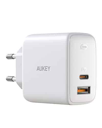AUKEY Omnia USB C Ladegerät 65W Power Delivery 3.0, USB-C Netzteil mit GaNFast Tech & Dynamic Detect, Schnelles PD Ladegerät für 13''MacBook Pro, iPad Pro, iPhone SE, Google Pixel 4XL, Nintendo (Weiß)