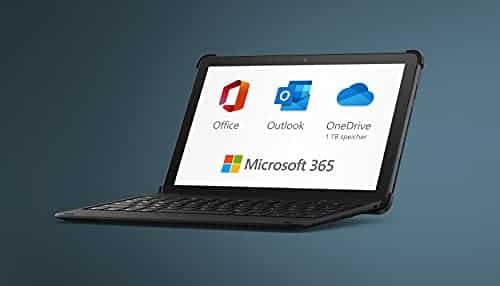 Neu: das Fire HD 10 Plus-Tablet, 32 GB, schiefergrau, mit Werbung + Bluetooth-Tastatur + 12-monatiges Abonnement für Microsoft 365 Single