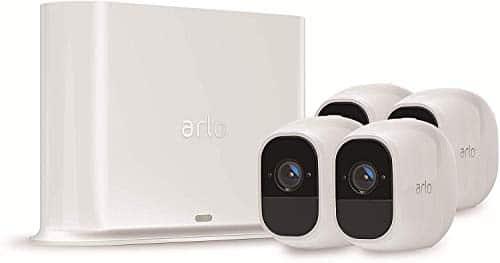 Arlo Pro2 Smart Home 4 HD-Überwachungskameras & Sicherheitsalarm (130 Grad Blickwinkel, kabellos, WLAN, Bewegungsmelder, Innen/Außen, Nachtsicht, wetterfest, 2-Wege Audio) weiß, VMS4430P