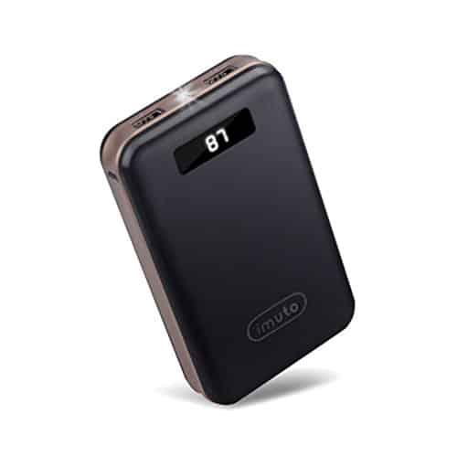 iMuto Powerbank 20000mAh 2-Port Externer USB Akku Hohe Kapazität Tragbar Handy Ladegerät mit LED-Display für iPhone, iPad, Macbook, Nintendo Switch, Samsung Galaxy, Smartphone, Tablets usw. Schwarz