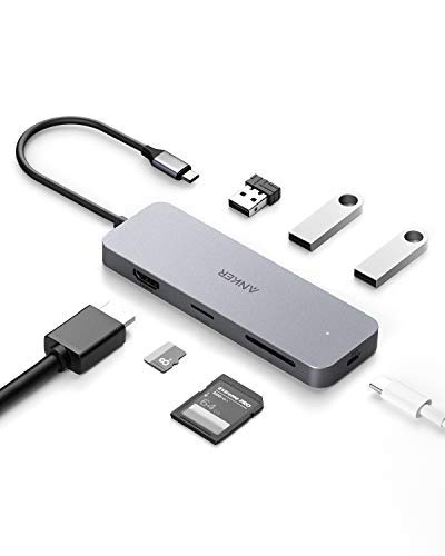 Anker 7-in-1 Premium USB-C Hub Adapter, mit 60W Power Delivery, 4K USB-C auf HDMI Output, MikroSD/SD Kartenleser, 3 USB 3.0 Ports, für MacBook Pro, ChromeBook, XPS und viele mehr