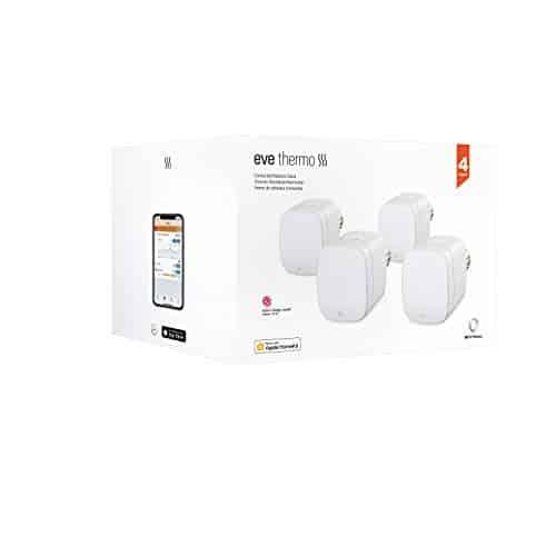 Eve Thermo, 4er Set - Smartes Heizkörperthermostat mit LED-Display, automatischer Temperatursteuerung, keine Bridge erforderlich, Bluetooth/Thread, Apple HomeKit, Made in Germany