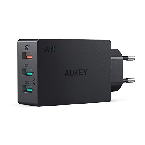 AUKEY Quick Charge 3.0 USB Ladegeraet 3 Ports USB Netzteil mit AiPower Tech für Samsung Galaxy S9/S8+/Note 8, LG G5/G6, Nexus 5X/6P, HTC 10, iPhone X/8/8 Plus, iPad Pro/Air usw.