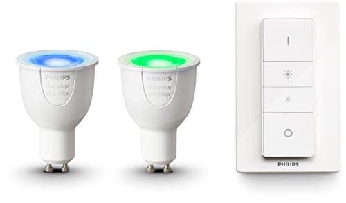 Philips Hue White and Color Ambiance GU10 LED Reflektor Doppelpack inkl. Hue Dimmschalter, dimmbar, bis zu 16 Millionen Farben, steuerbar via App, kompatibel mit Amazon Alexa (Echo, Echo Dot)