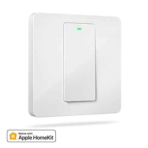 Homekit Lichtschalter, Meross Smart Schalter WLAN Wandschalter, 1 Gang benötigt Nullleiter, physische Taste Schalter, kompatibel mit Siri, Alexa, und Google Home, 2,4 GHz, Kein Hub erforderlich